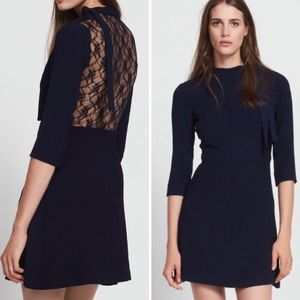 Sandro Jovane Blue Lace Back Fit & Flare Dress NWT